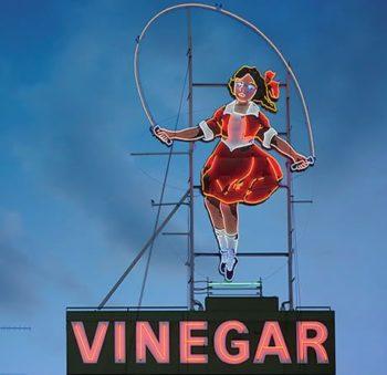 The new Skipping Girl Vinegar sign