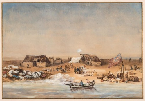 One of Liardet's first paintings; Melbourne from the South side of the Yarra, 1839.