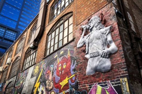 Bon Scott street art, in AC/DC lane