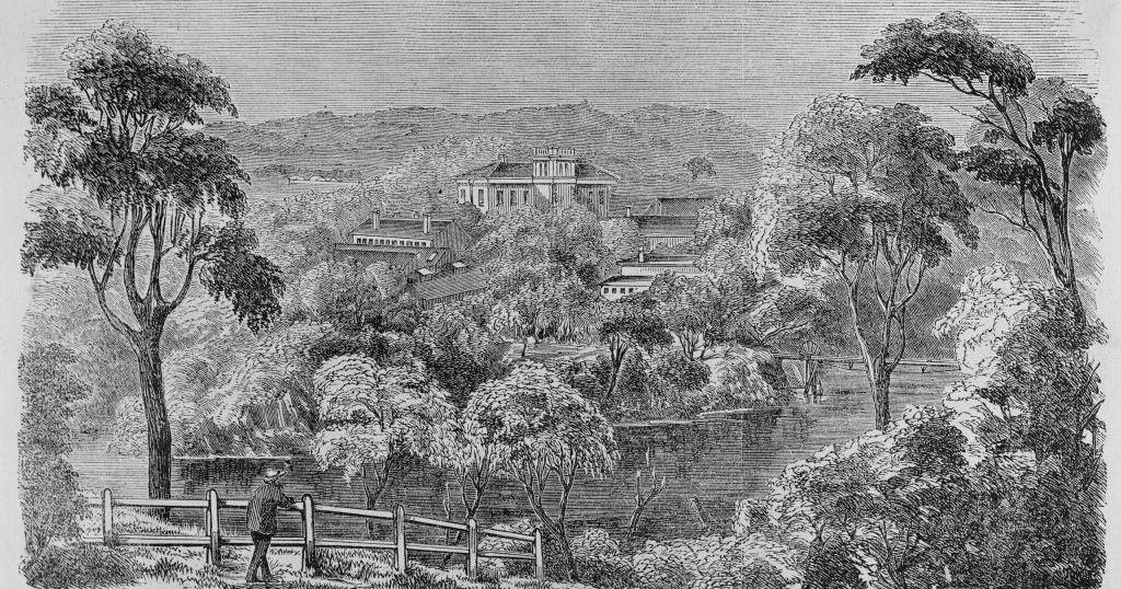 Drawing of Yarra Bend Asylum, late 1800s