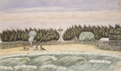 Darke's camp on the beach, painted in 1839 by Liardet.