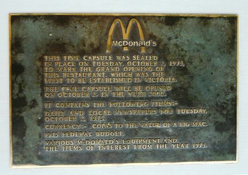 Time capsule plaque from Glen Waverley McDonald's