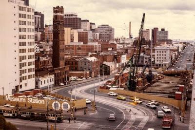 Museum Station under construction, Melbourne, 1975