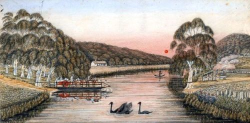 A ferry crossing of the Yarra, by Liardet, 1840.