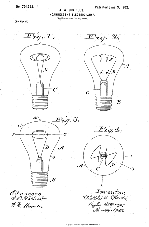 Some of Chaillet's light bulb designs