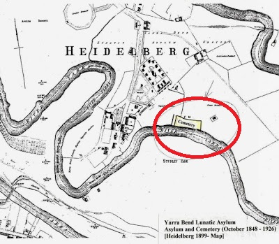 A map shjowing the location of the cemetery at Yarra Bend Asylum
