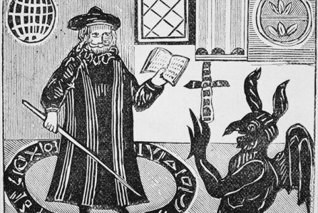 Traditional depiction of Faust and the Devil
