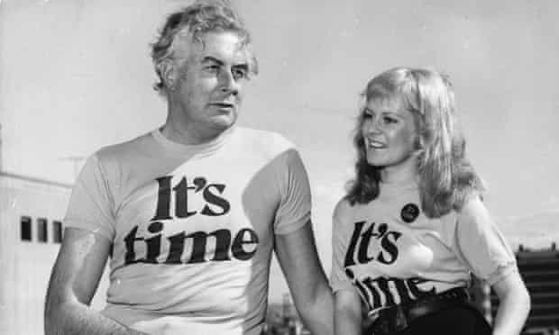 Whitlam and his famous campaign slogan, 'It's Time'
