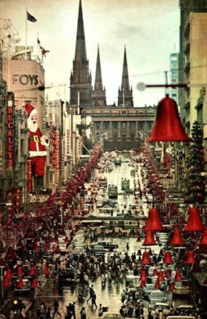 Looking down Bourke Street, Christmas 1969