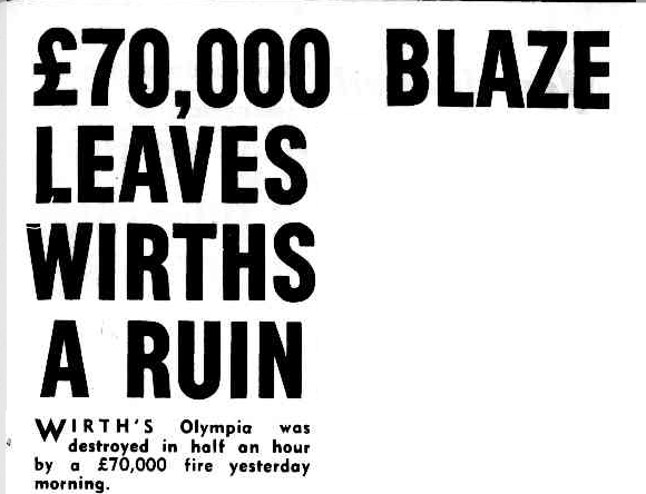 Headline for Wirth's Circus fire
