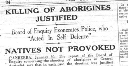Aboriginal massacre reported in the press
