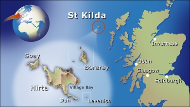 Map showing the location of St Kilda island