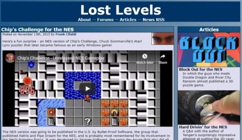 A creenshot of the Lost Levels website homepage