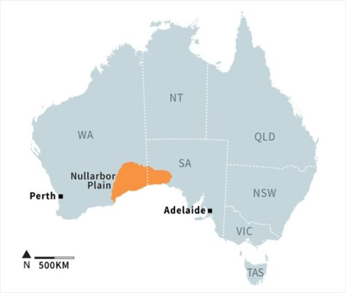 Map showing the location of the Nullarbor Plain