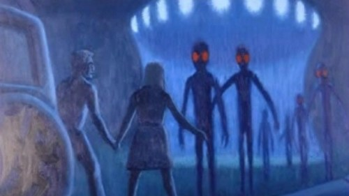 An artist's impression of Kelly Cahill's eencounter with aliens