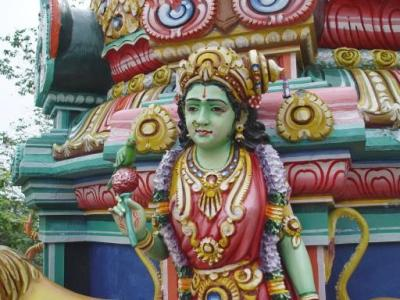 A carved representation of Meenakshi, from the temple.