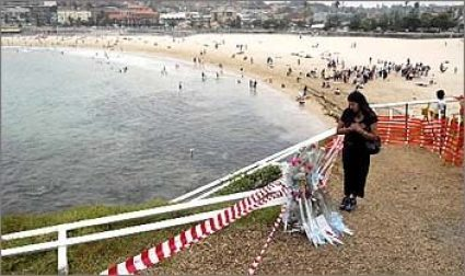 The Virgin Mary fence in Coogee Beach, destroyed by vandals.