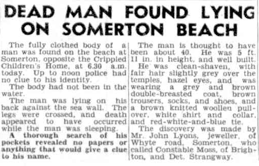 The Somerton Man reported in the press