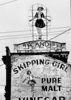 Skipping Girl Vinegar sign on the Nycander factory