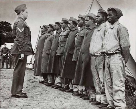 Indigenous recruits at a Victorian army camp.