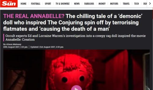 The real Annabelle doll, as reported in the media