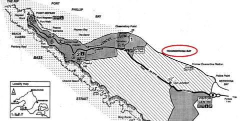 Ticonderoga Bay marked on a current map.