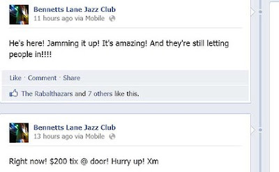 Prince at Bennetts Lane: facebook excitement