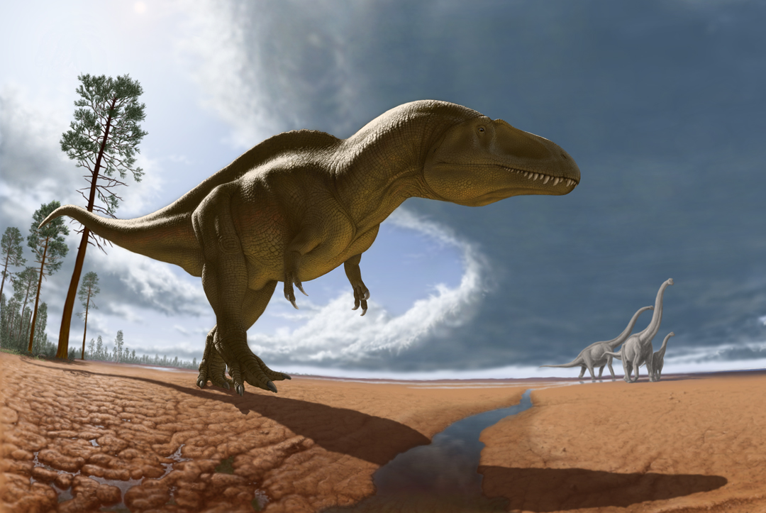 Acrocanthosaurus and Sauroposeidon on the Oklahoma Plain, by Julius Csotonyi, 2007