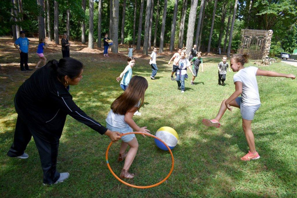 Children play a nonviolent version of the mesoamerican ballgame