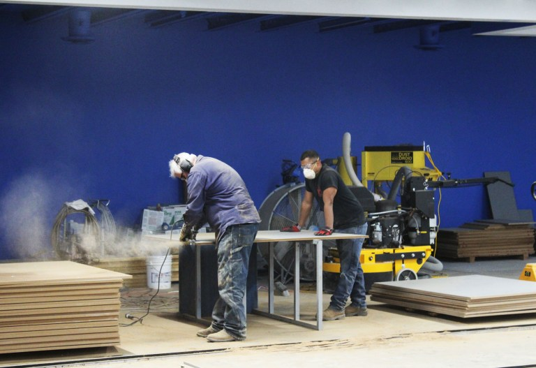 Contractors from Southwest Solutions Group working on the new collections facility (November, 2016). The new space doubled the Museum's storage capacity.