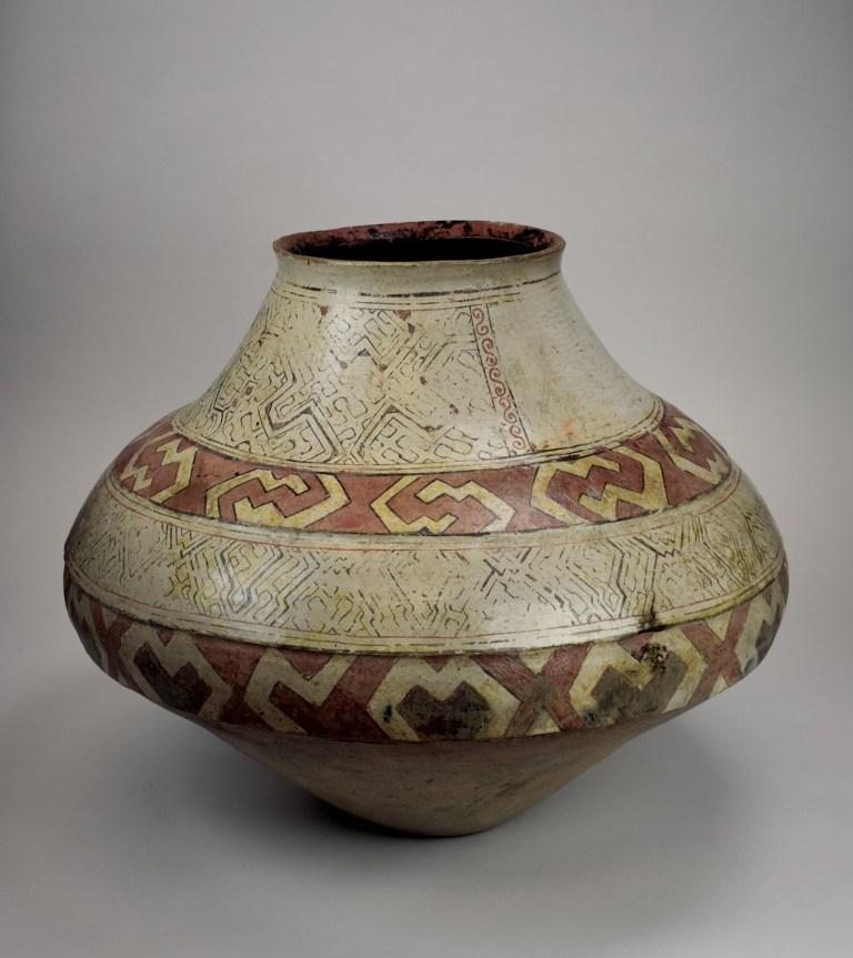 A large Shipibo jar with traditional geometric designs