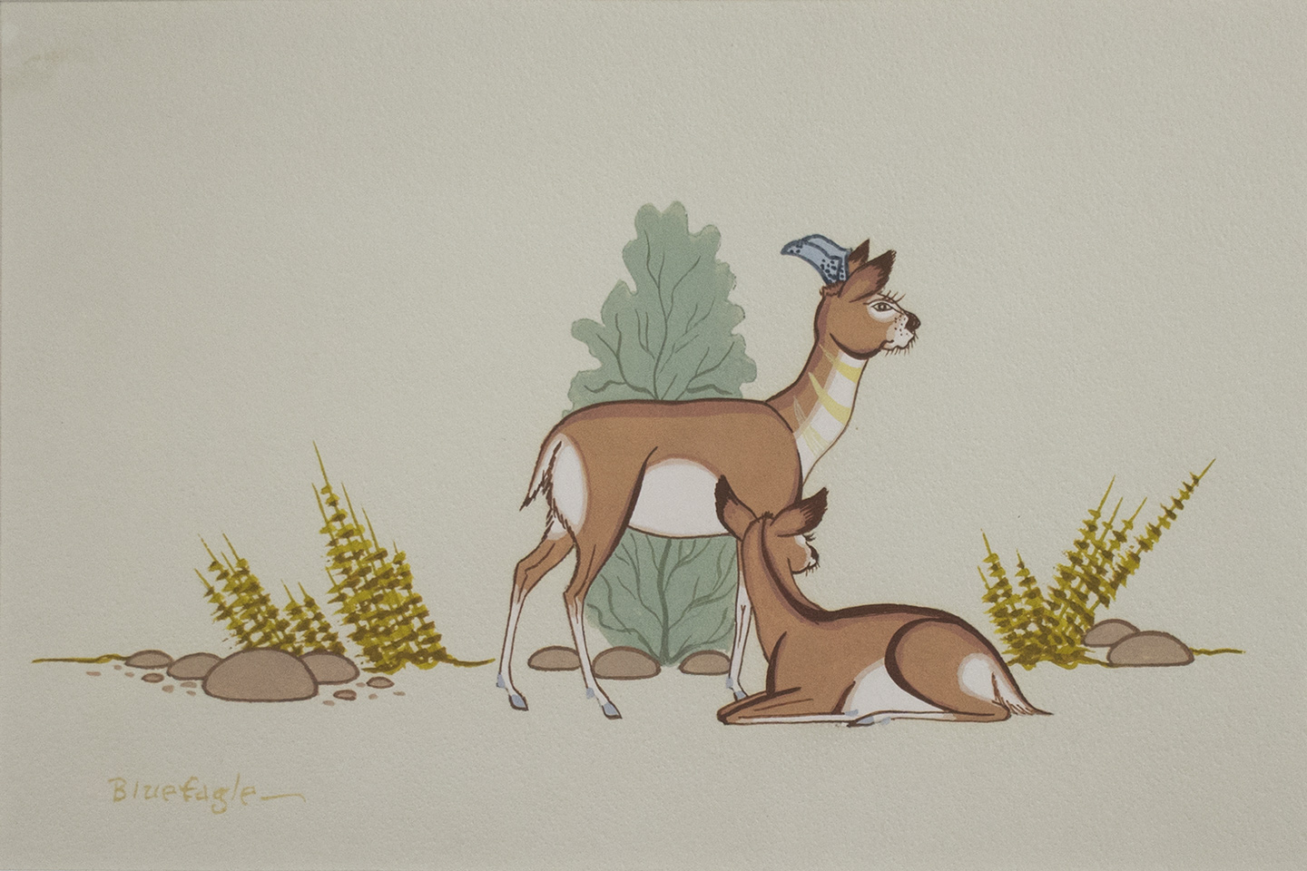 A pair of small animals, possibly deer, painted by Acee Blue Eagle