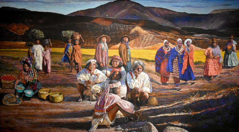 """a mural of people from different cultures """"coming to Oklahoma"""" by Bill Baker"""