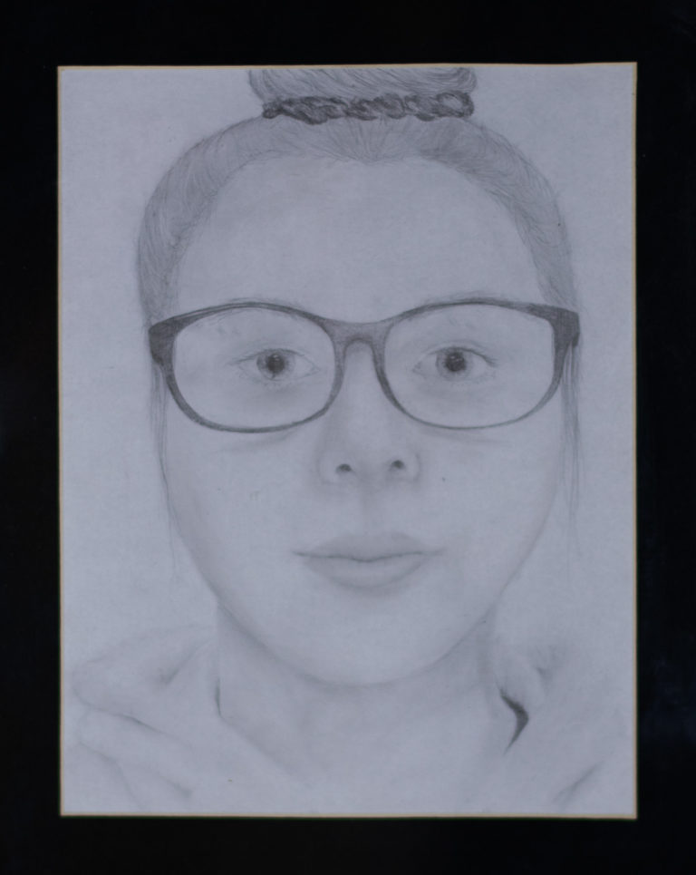 Self Portrait by Lakken Caffey. Third place, two-dimensional art, ages 11 to 15. NFS.