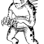 Drawing of a chupacabra, a small humanoid creature with large black eyes and spikes coming out of its back