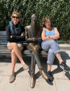 Ramon Maria Del Valle-Inclan y de la Pena (pauses for breath) - and friends - in the Parque de Alameda in Santiago de Compostela - Credit: @johnstreetdales