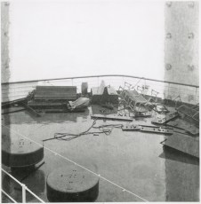 Storm-wrecked debris on board the TEV Wahine