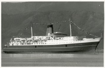 TEV Wahine at anchor after her maiden voyage into Wellington Harbour
