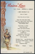 Christmas menu from TEV Wahine 1966