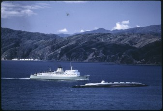 Inter island ferry Aranui passing the TEV Wahine wreck.