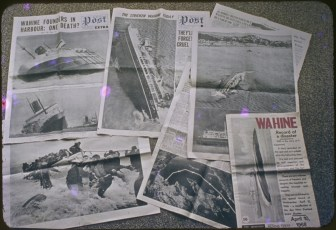 Collage of newspaper images from the Wahine Disaster
