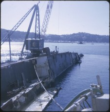 TEV Wahine wreck with crane attached to hull