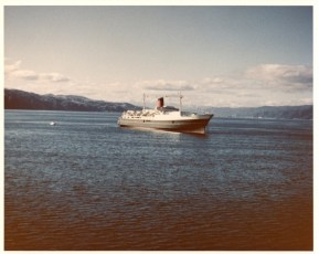 TEV Wahine at anchor in Wellington Harbour on arrival from the United Kingdom on her maiden voyage