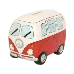 Red Kombi Van Money Box