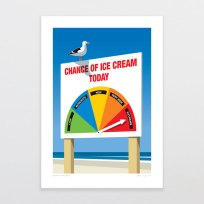 Chance of Ice Cream Print, Art, Glenn Jones, Kiwi, Summer, NZ Made, Ice Cream, Print