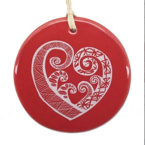 White Aroha on Red Ceramic Hanging Tile
