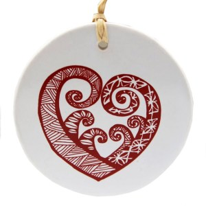 Red Aroha On White Ceramic Hanging Tile