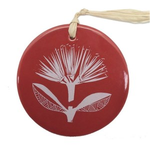 White Pohutukawa On Red Ceramic Hanging Tile