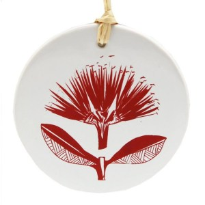 Red Pohutukawa on White Ceramic Hanging Tile