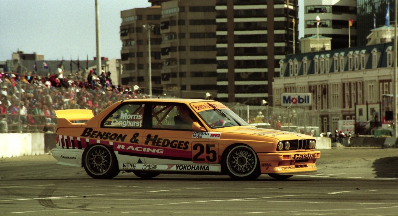 Tony Longhurst / Paul Morris BMW M3 after winning the race in 1992. Wellington Museum in the background. Photo: John Crouch